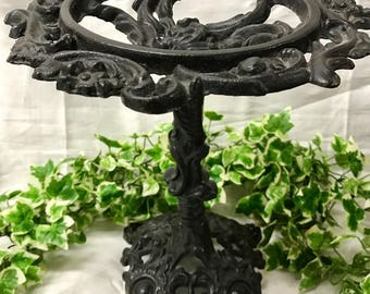Antique Ornate Cast Iron Jardiniere Stand With Floral Decoration and Lions Paw's