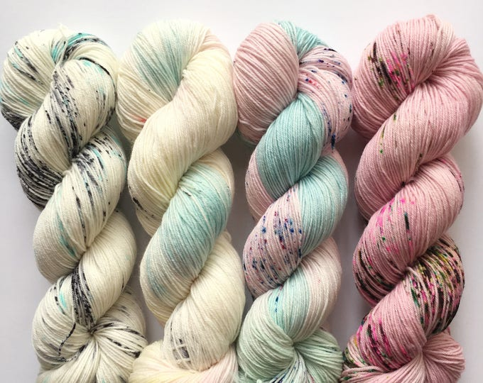 Featured listing image: SO FADED KIT - Pastels - 4 Skeins of Hand-Dyed Yarn On Your Choice of Base - **Dyed to Order**