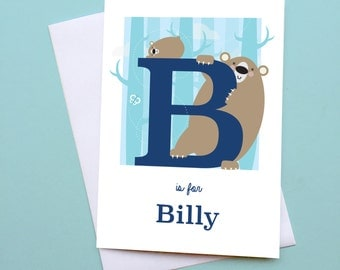 personalised bear card, personalised animal card, letter B greetings card, gift for baby, alphabet card, gift for nursery, bear lover