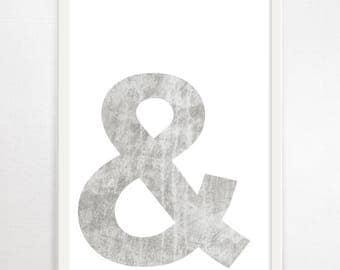 Ampersand, Typography Art, Minimalist Art, Art Print, Large Wall Art, Monochrome Print, Black and White Art, Typography Poster, Graphic Art