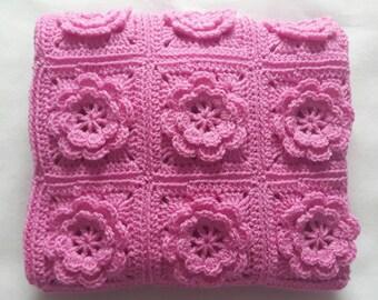 Pink Crochet Baby Blanket, Crochet Blanket Baby, Car Seat Blanket, Baby Shower Gift For Baby, Receiving Blanket, Christening Gift Girl,