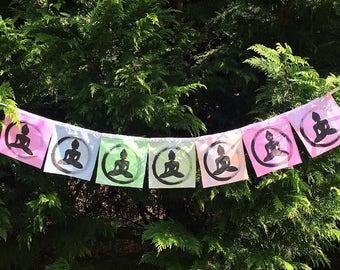 Buddha Hand painted Prayer Flags Mudra Om Meditation Spiritual Garden Art Yoga Namaste Zen garden