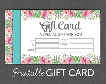 Gift Certificate - Floral - Gift Card - Printable gift Card, Instant Download