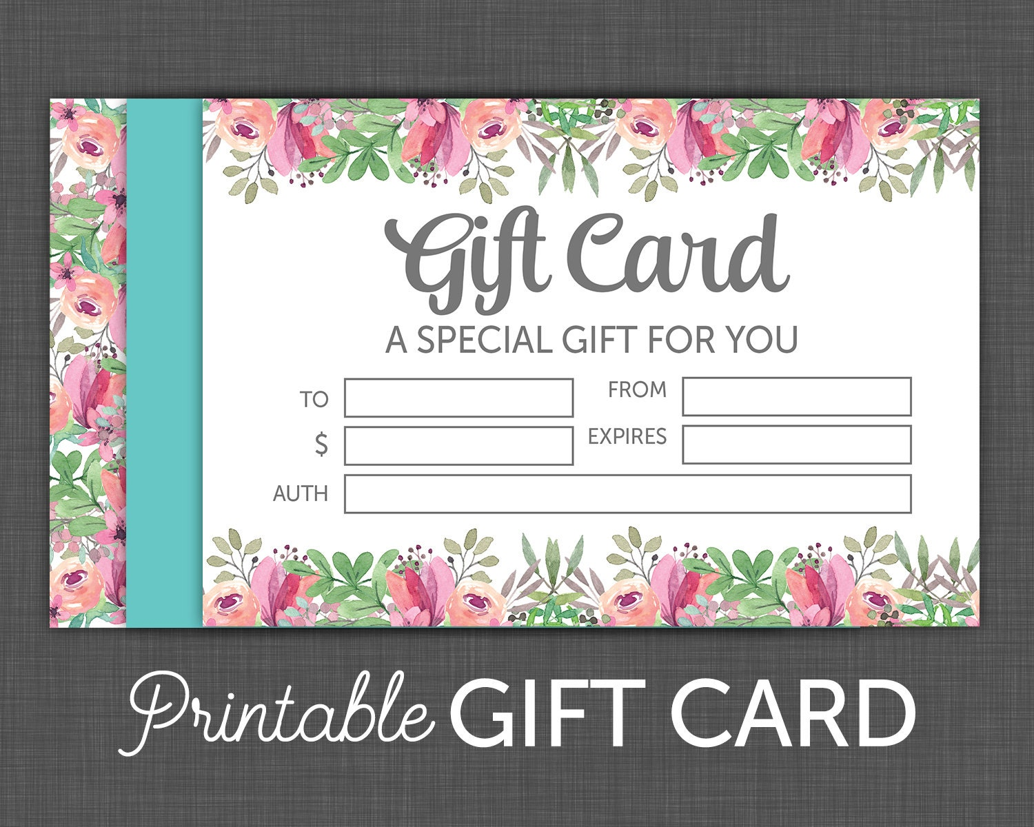 Gift Certificate Floral Gift Card Printable gift Card
