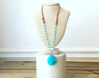Long Turquoise necklace - long leather Necklace - turquoise pendant silver necklace - Long boho rosary Necklace - western boho jewelry