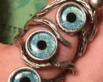 Celestial Blue Hand-Painted Eye Tree Ring