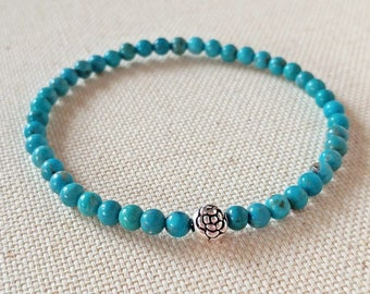 Reserved Listing for Awesome L, Genuine Turquoise Bracelet, Sleeping Beauty, Turquoise Stone Bead, Gemstone Bracelet, Healing Stone