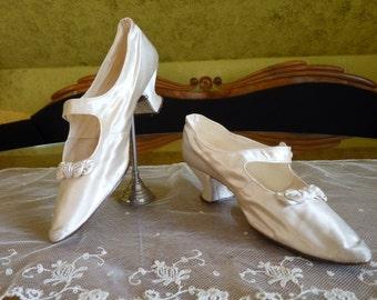 1903 Wedding Shoes, antique pumps, antique shoes, Edwardian shoes, antike Schuhe, England