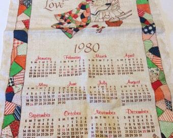 1980 Fabric Wall Calendar