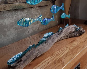 Fused glass art, sculpture, fish, driftwood, fused glass art, fish, waves, ocean waves, suncatcher, light catcher,home decor, Easter