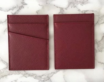 Personalised Monogrammed Women's Or Men's Card Holder in Burgundy Saffiano Leather Slim Wallet