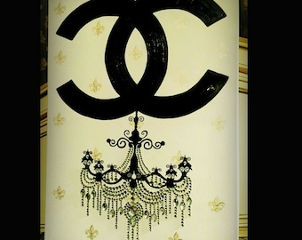 Black CC Rhinestones Chandelier Painting 24x18 Vanity Glam