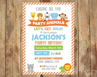 Party Animal Invitations - Let's Get Wild - Personalized Printable - 5x7 DIGITAL file