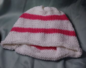 White and Pink Striped Knitted Beanie