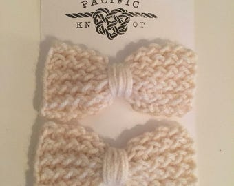 Matching Knit Bow Clips, Cream