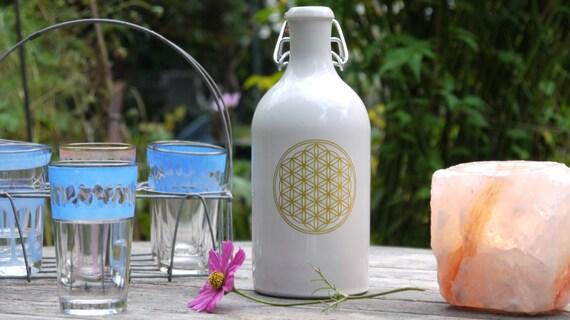 bouteille en gr s avec la fleur de vie 500ml. Black Bedroom Furniture Sets. Home Design Ideas