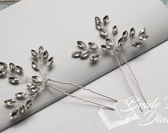 1pc Bridal hair pin, Rhinestones Hair pin, Silver color hair pin