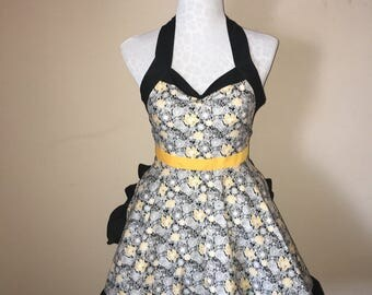Floral Print Womens Apron, Yellow Accent Waist Tie, Black Trim, Black Yellow And Grey Flowers, Fun, Flirty Apron For All Occasion (Veronica)