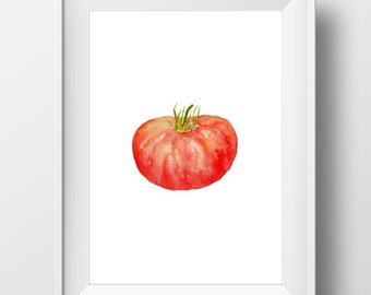 Tomato Printable Art, Tomato Watercolor, Tomato Painting, Kitchen Wall art, Tomato Print, Farm Art, Veggie Artwork, Vegetable Art