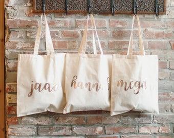 Rose Gold Bridesmaid Tote, Bridesmaid Bag, Bridesmaid Gift, Tote Bag, Gift Bag, Wedding Bag, Rose Gold Bag, Wedding Tote