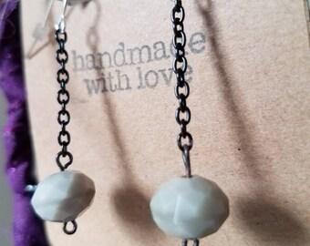 Black Chain Grey Glass Bead