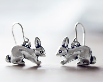 Chunky little rabbit earrings | Sterling silver bunny earrings | Woodland earrings | Animal earrings | Kitschy earrings | Hypoallergenic