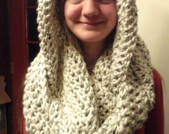 Soft hooded infinity scarf
