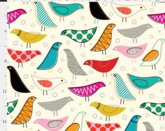 Retro Bird Crib Sheet. Fitted Crib Sheet. Baby Bedding. Crib Bedding. Minky Crib Sheet. Crib Sheets.
