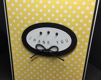Thank You Card, Handmade Card, Yellow and Black Thank You Card, Stampin' Up! Designs