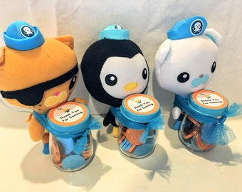 CLOSE OUT SALE!!! Octonauts inspired party favors Barnacles Kwazii Peso plush Thank You birthday party candy treats blue and orange gift