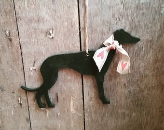Hanging Greyhound Whippet Lurcher, Handpainted Greyhound  Whippet Lurcher Decoration, Greyhound Whippet Lurcher Ornament, Small Greyhound