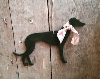 Hanging Greyhound, Whippet, Lurcher Ornament, Handpainted Greyhound Decoration, Gift for Greyhound Lover, Whippet Lover, Lurcher Lover