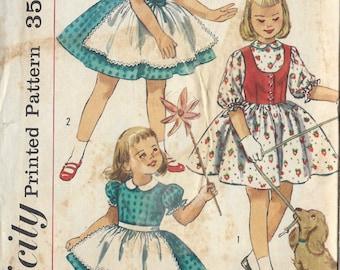 "1957 Childrens Vintage Sewing Pattern S3 C22"" DRESS WESKIT APRON (C5)  Simplicity  1979"