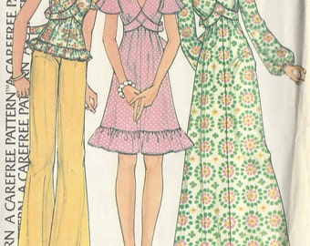 1974 Vintage Sewing Pattern B34 PULLOVER DRESS & TOP (R785) McCalls 4028