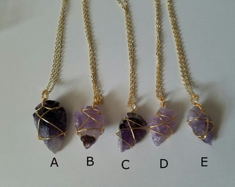 Purple Amethyst necklace Crystal necklace Rough cut amethyst Chunky necklace February birthstone