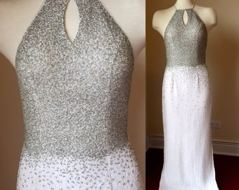 Vintage Beaded Wedding Gown, vintage beaded prom dress, Fitted Beaded Wedding Dress, 90s wedding Dress, vintage fitted prom dress, 90s prom