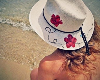 "Handpainted hat ""Red Flowers """
