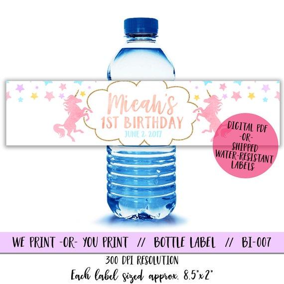 Unicorn Water Bottle Labels Unicorn Birthday Water Bottle