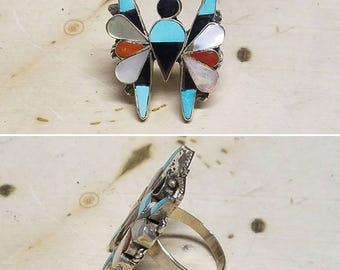 Zuni inlay butterfly ring