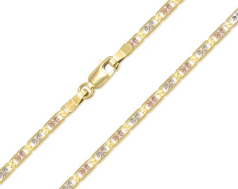 """10K Solid Yellow White Rose Gold Valentino Necklace Chain 3.3mm 16-24"""" - Tri Color Link"""