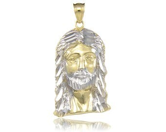 10K Solid Yellow White Gold Jesus Head Pendant - Face Religious Necklace Charm Men's Women's