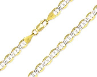 """10K Solid Yellow Gold White Pave Mariner Necklace Chain 6.5mm 20-30"""" - Diamond Cut Anchor Link"""