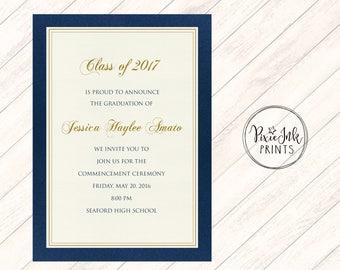 Graduation Party Invitation, Blue & Gold Graduation Invitation, Graduation Invite, Class of 2017 Graduation Invitation, Grad Printable