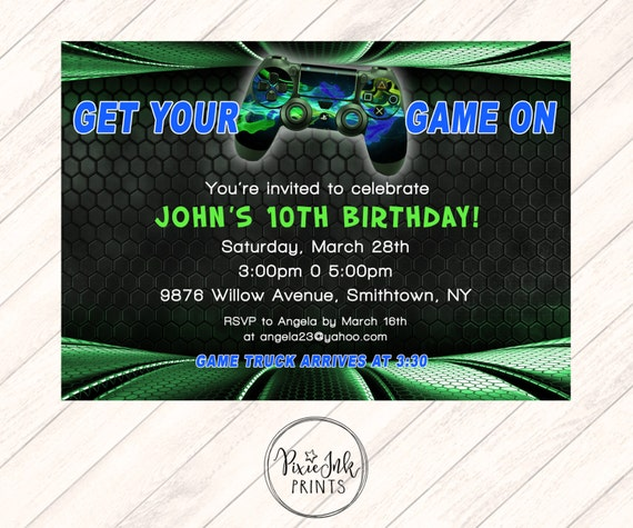 Video Game Invitation Game Truck Invitation Game Truck Party
