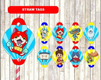 Yo Kai Watch Straw toppers, printable Yo-Kai Watch party straw tags, Yo-Kai Watch straw tags - Instant download