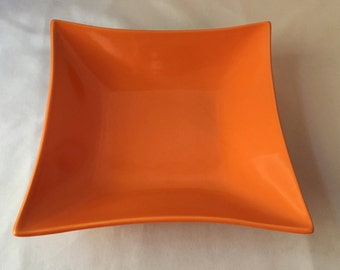 Vintage Orange Square Bowl / Catchall