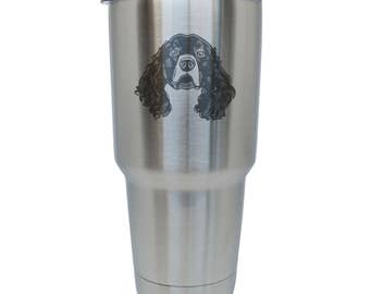 Irish Water Spaniel Stainless Steel Tumbler, 30 Oz Insulated Tumbler, Laser Etched In Usa