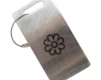 Daisy Flower Stainless Steel Luggage Tag