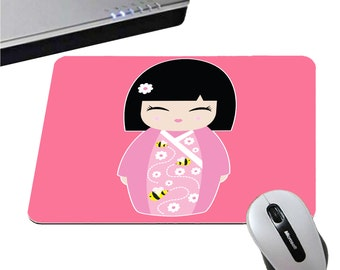 Mousepad doll Japanese Kokeshi - 5 colors black / /violet pink / gray / white