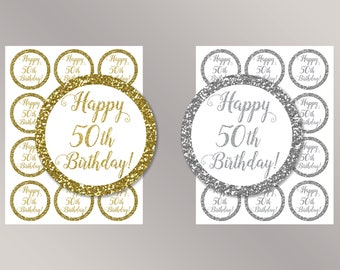 Happy 50th Birthday Cupcake Toppers, Happy Birthday favor tags, 50th Birthday Party Decor, Birthday Decorations, Gold, Silver Cake toppers
